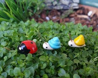 Fairy garden ladybug and snail picks, miniature snail, miniature ladybug, fairy garden accessories, fairy ladybugs, miniature garden,