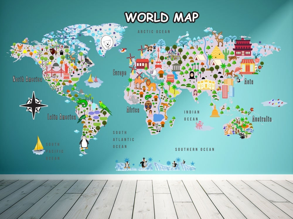 Animal map cultural world map wall decal reusable vinyl fabric animal map cultural world map wall decal reusable vinyl fabric repositionable decal gumiabroncs Gallery