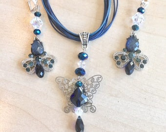 Sterling silver and navy blue butterfly with Swarovski crystal