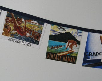 FABRIC LABEL BUNTING retro travel iconic vintage brands diving girl italia surfing swimming holiday