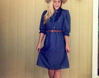 1980s Blue Stripped Fitted Dress