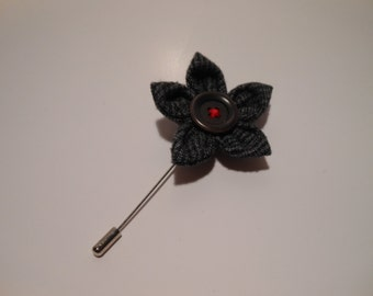 Dark Grey Plaid Tweed Flower Lapel Pin