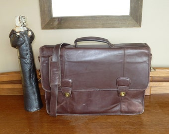 Coach Laptop Briefcase In Mahogany Leather Style No. 0546 - Mildly Distressed