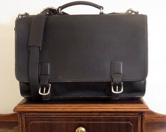 Spring Sale Coach Hudson Brief In Black Leather With Nickel Hardware Style No 5310 - VGC- Get Organized!