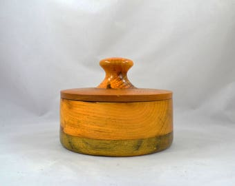Hand Turned Wood Bowl, Vintage Handmade Wooden Container With A Handle Cover