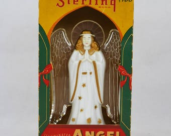 Vintage Sterling Illuminated Angel Tree Topper With It's Original Box