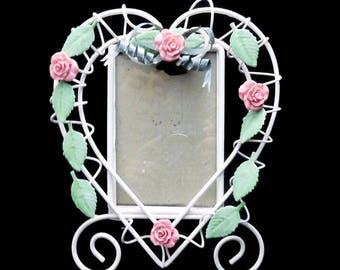 Heart Shaped Metal Wire Picture Frame Shabby Roses Cottage Chic