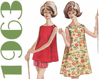 """Teen Sundress Tent Dress Swing Dress McCALLS 6787 bust 29"""" Beach Dress With Shorts 1960s Dress Pattern Summer Dress 1960s Shorts Pattern"""