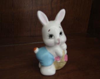 1982, Bunny Rabbit, Kitsch, Hand Painted, Ceramic, LadyBug on Tail, Hare, Enesco, Easter Decoration