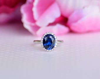 Sterling Silver Blue Oval Cz Ring. Solitaire Ring. Engagement Ring. Promise Ring. Blue Sapphire Cz Ring. September Birthtone Ring.