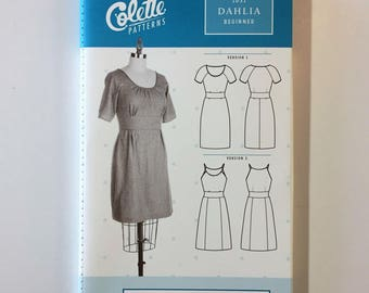 The Dahlia by Colette Patterns - Paper Sewing Pattern - 3/4 Sleeve or Sleeveless Dress Pattern - Womens sizes 0 to 26