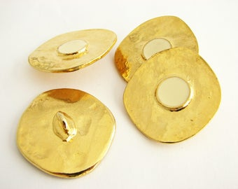 Golden and white metal buttons, 4 Large gold metal buttons with enamel center, unused!