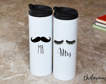 Mr and Mrs Travel Mugs, Coffee Mugs, Gift for Husband, Gift for Wife, Wedding Gift, Engagement Gift, Anniversary Gift