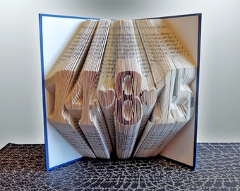 Folded Book Art - Paper Anniversary Gift for Him / Her - Wedding Date Gift - First Anniversary - Paper Anniversary - Book Sculpture