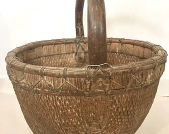 Antique Willow Basket Large with Wooden Handle, China