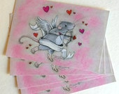 "Pack of 5 Valentine ""Cupid Rat"" Post Cards"