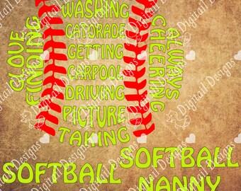 Softball Nanny Word Art SVG PNG DXF Eps fcm ai Cut file for Silhouette or Cricut. Printable art T-shirt template Softball Grandma