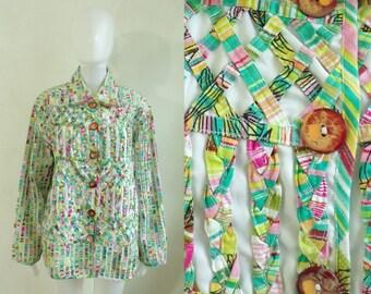 35%offJuly17-20 90s colorful jacket plus size 1X, cotton braided lattice band button down jacket, 1990s women preppy striped jacket coat