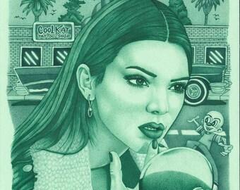 Kendall Jenner Celebrity Portrait - Original Prison Inmate Art