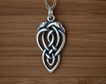 Celtic Love Birds Pendant or Earrings-STERLING SILVER- Chain Optional