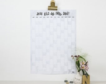 2018 Wall Planner - Let's Do This Shit! - 2018 Wall Calendar - Yearly Wall Calendar - Wall Planner 2018 - Large Wall Planner - Marble Effect