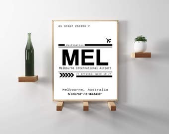 MEL, Melbourne, Australia International Airport Call Letters. A modern, minimalist, scandinavian style typography print. Instant Download