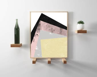 Pink and Gold modern, geometric, abstract poster print. Chic, Scandinavian design w/ distressed colors. Downloadable wall art and home decor