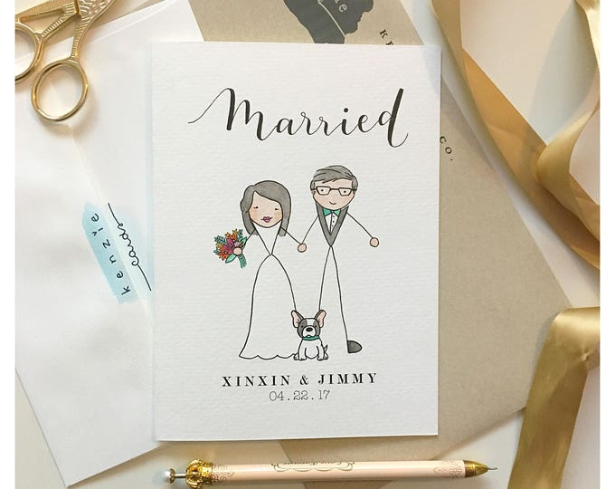 Featured listing image: Custom Wedding Card // wedding keepsake, card for bride, card for groom, married, hitched, wedding card, marriage card, anniversary card