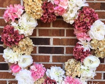 "24"" Large Burlap Spring Flowers Wreath"
