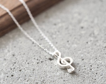 Treble Clef Necklace 925 Sterling Silver