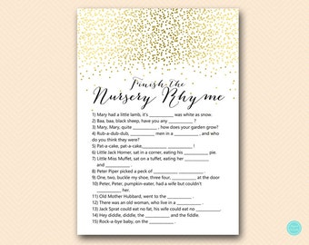Gold Baby Shower Games, Nursery Rhyme Baby Shower, Nursery Rhyme Game, Nursery  Rhyme