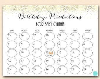 Baby Prediction Calendar, baby prediction calendar, baby due date calendar, guess the due date, due date calendar, due date sign TLC472 db
