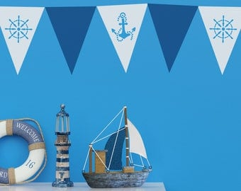 CraftStar Seaside Pattern Bunting Stencil Pack - A4 Anchor and Ship's Wheel Bunting Stencils