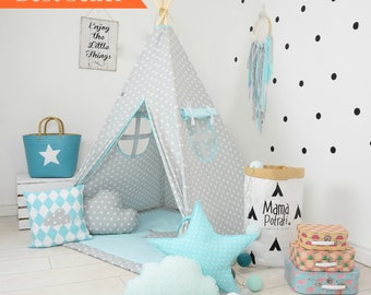 Baby Blue Teepee - Star Teepee - Grey Teepee - Baby Blue Tent - Blue Fort - Boys Teepee - Childrens Teepee - Childrens Wigwam - Reading Lamp