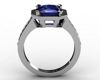 Modern Russian Platinum 2.0 Ct Blue Sapphire Diamond Engagement Ring R1006-PLATDBS