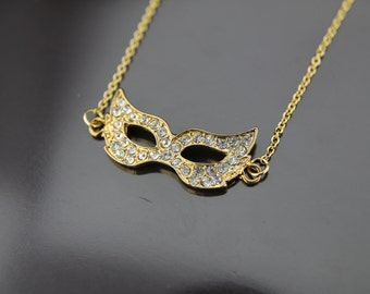 Gold Masquerade Mask Charm Necklace Masquerade Mask Pendant Mask Necklace Mask Charm Necklace Personalized Necklace Customized Jewelry