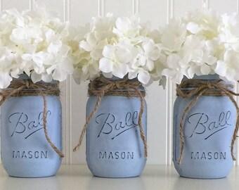 3 Blue Mason Jars, Mason Jar Vase, Painted Mason Jars, Distressed Mason Jar, Vintage Decor, Mason Jar Centerpiece, Wedding Centerpiece, Vase