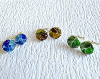 Seaham seaglass cufflinks - genuine English sea glass - glass toggle cuff links - resin set sea glass - gifts for him