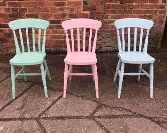 Painted to order Farmhouse Dining Chairs custom. Solid wood chairs finished in any Farrow and Ball paint colour with Ribbon Slat chair backs