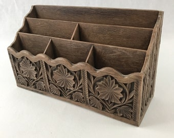 Vintage Faux Carved Wood Desk Organizer/Letter Holder-Retro Office Organizer