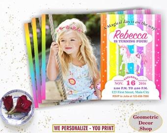 Unicorn Birthday Invitation Purple Invitations Girl Invite Pink Invites Magical Day Rainbow Birthday Thank you card Photo Photograph BDU10