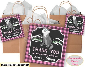 Lumberjack birthday, wolf favor tags, Pink Plaid Woodland, Great Wolf Lodge, favor tags, Rustic camping label loot bag candy FTLJ7