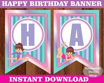 Gymnastic Happy Birthday Banner Printable instant download pink purple teal INSTANT DOWNLOAD Girl Gymnastics party BNSG1
