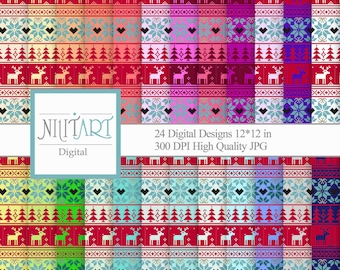Christmas digital paper, classic christmas papers, scrapbook papers, christmas background