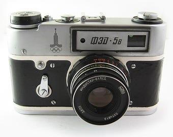 FED 5B Russian Soviet 35mm Film Leica Copy Rangefinder Camera Industar-61LD Lens
