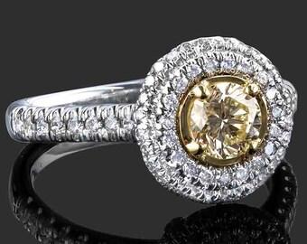 Fancy Yellow Round Cut Diamond Engagement Ring, Halo Set Yellow Diamond Ring, Round Diamond Ring, Yellow Round Cut Ring, 14K White Gold Ring