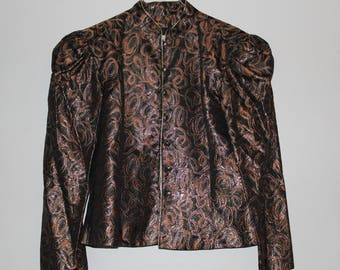 Guy Laroche Vintage year 80 Lurex vest and Brown and bronze satin new