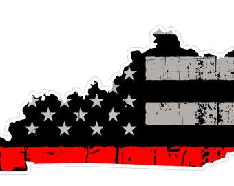 Kentucky State (C18) Thin Red Line Vinyl Decal Sticker Car/Truck Laptop/Netbook Window