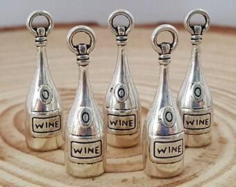 5 Antiqued Silver Wine Bottle Charm  Vino Bottle
