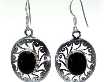 Black Onyx Earrings, 925 Sterling Silver, Unique only 1 piece available! color black, weight 5.6g, #24244